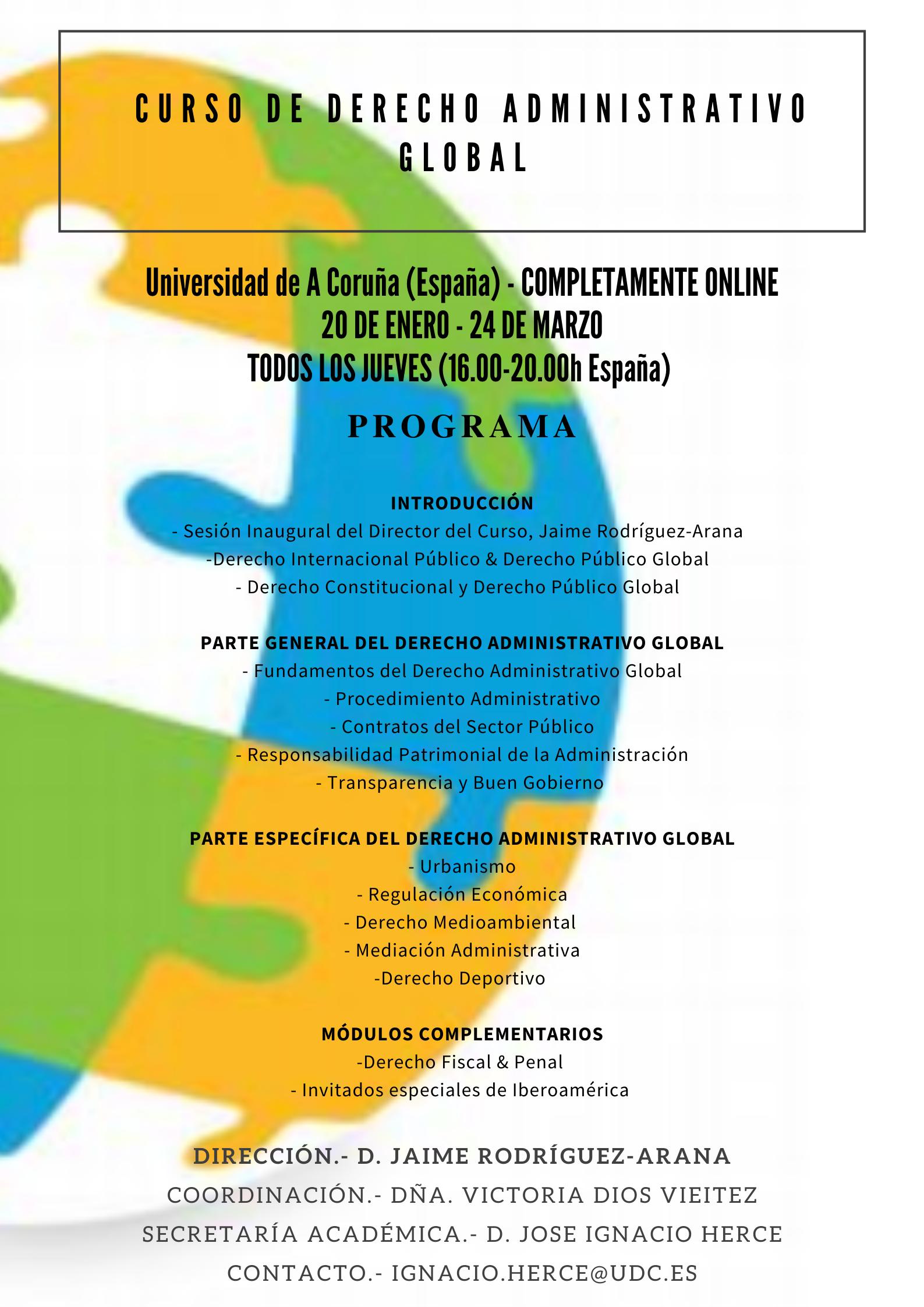 Jaime Rodriguez-Arana dirige el curso en Derecho Administrativo Global